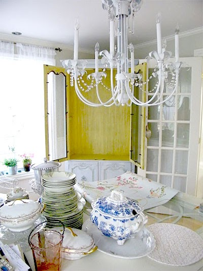 Healthy Wealthy Moms: Wallpapering the back of a cabinet hutch