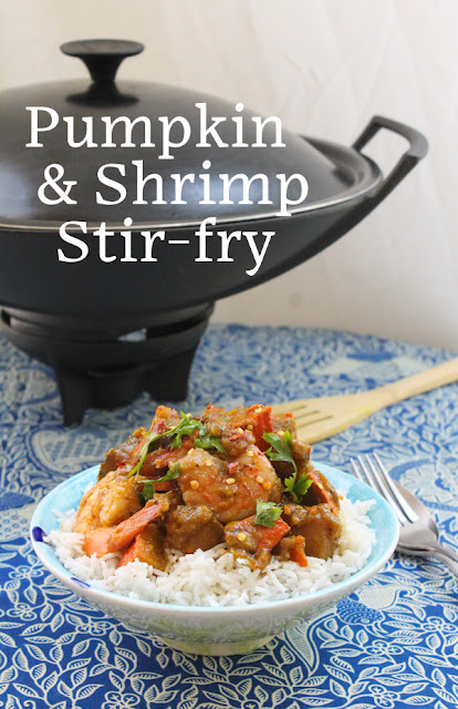Food Lust People Love: This healthy Thai-style pumpkin and shrimp stir-fry is super quick to the table, with enormous flavor. With or without the shrimp, it's a satisfying meal. But add the shrimp. You won't regret it.