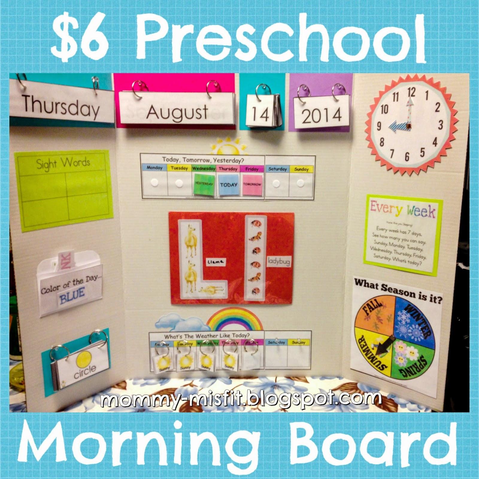 Calendar Activities For Preschoolers : Mommy misfit our cheap morning calendar board yo