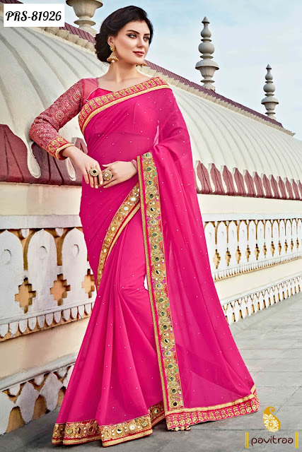 dark pink designer sarees for regel charm