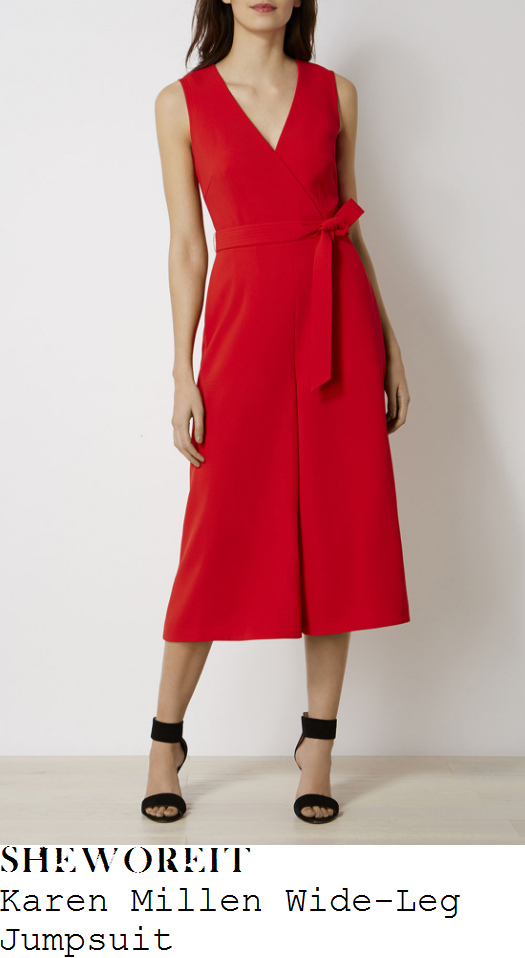 charlotte-hawkins-karen-millen-bright-lipstick-red-sleeveless-v-neck-cross-over-wrap-front-tie-detail-high-waisted-wide-leg-culotte-jumpsuit