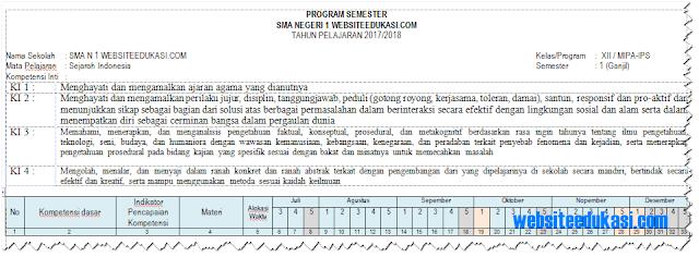 Prota, Promes Sejarah Indonesia Kelas 12 K13 Revisi 2018