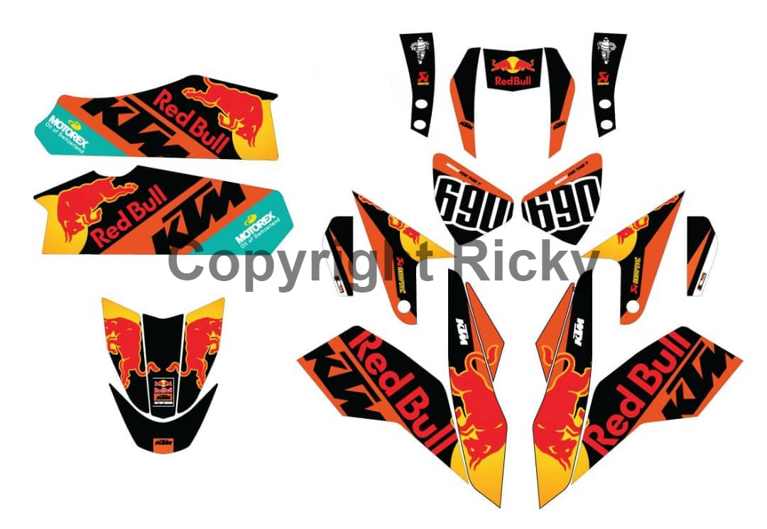 New custom design graphics duke 690 naked bike vinyl decals sticker
