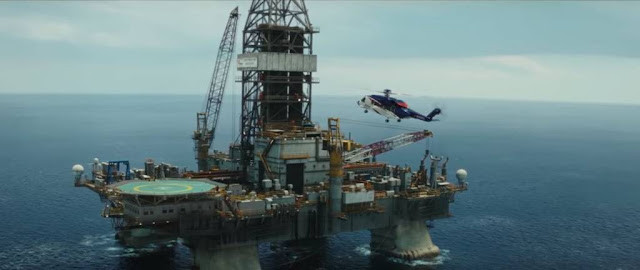 chopper landing on the Deepwater Horizon oil rig