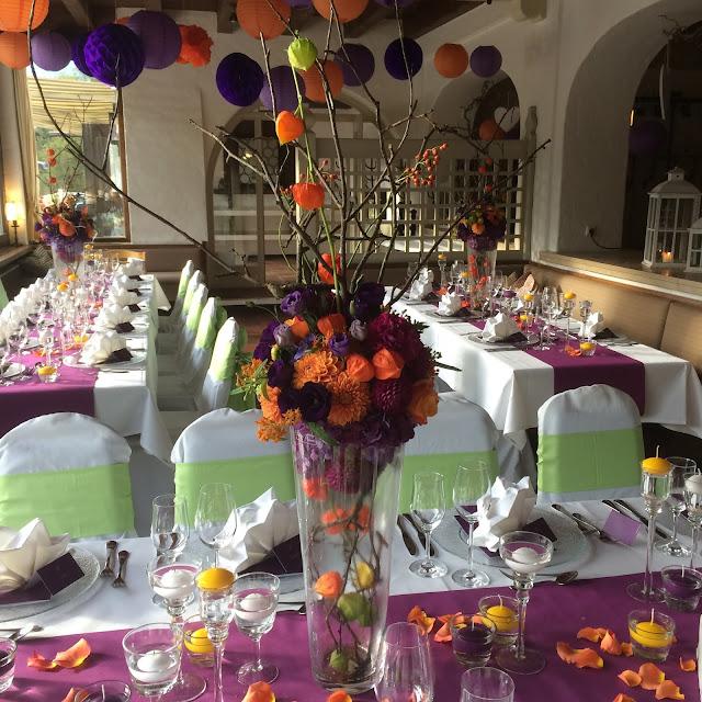 Herbst-Hochzeit in den Bergen, Lila, Orange, Riessersee Hotel Garmisch-Partenkirchen, Bayern, Autumn wedding in Bavaria, Lilac and Orange