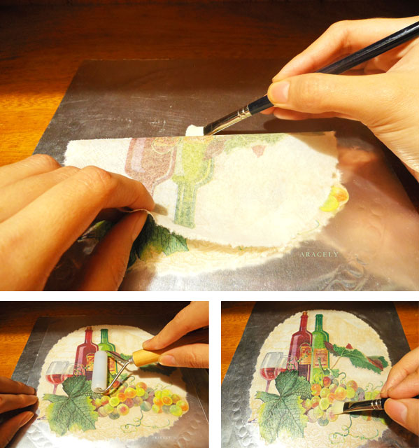 repujado aluminio decoupage servilleta volumen