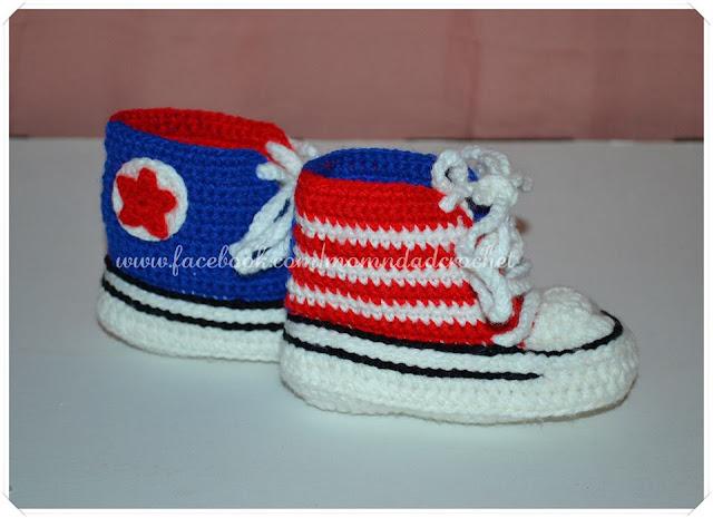 crochet, booties, Converse,