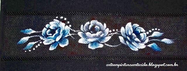 rosas pintura em toalha