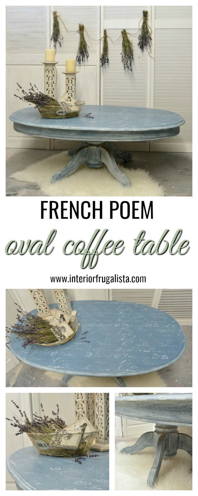 Oval Coffee Table Distressed With French Poem