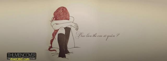 Ảnh bìa Facebook cô đơn, buồn - Alone Cover timeline FB, cô gái (girl) cô đơn ngồi khóc