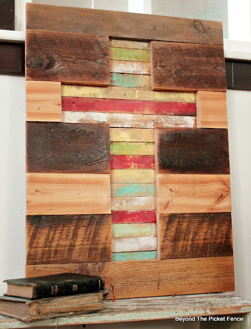 lathe, cross, rustic decor, barnwood, rustic sign, Easter decor, http://bec4-beyondthepicketfence.blogspot.com/2016/02/barnwood-lathe-cross-sign.html
