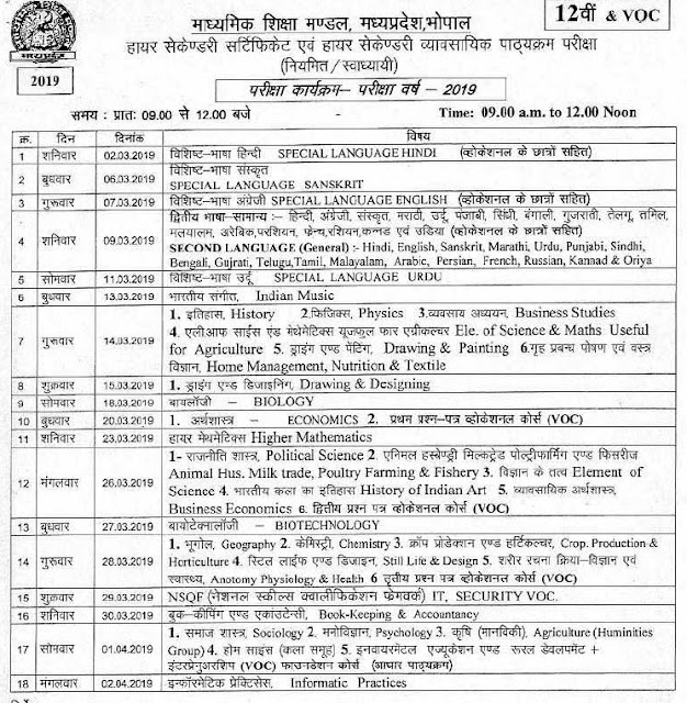 Madhya Pradesh 12th Class Exam Time Table 2019
