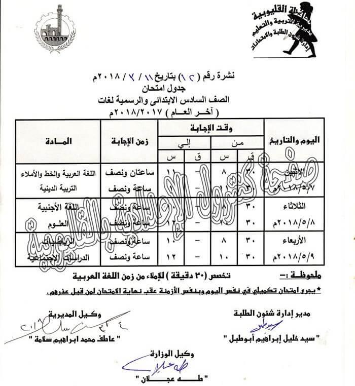 جدول امتحانات الصف السادس الابتدائي 2018 الترم الثاني محافظة القليوبية