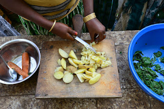 Cooking a meal of vegetable soup in Ethiopia