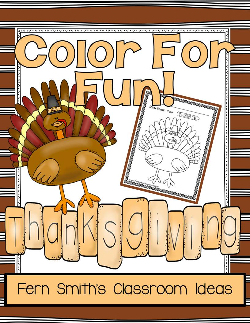 Fern Smith's Classroom Ideas Thanksgiving Fun! Color For Fun Printable Coloring Pages