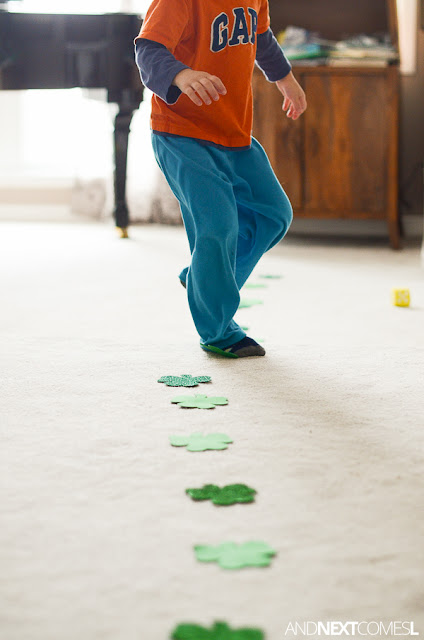 Gross motor counting game for kids that's perfect for St. Patrick's Day from And Next Comes L