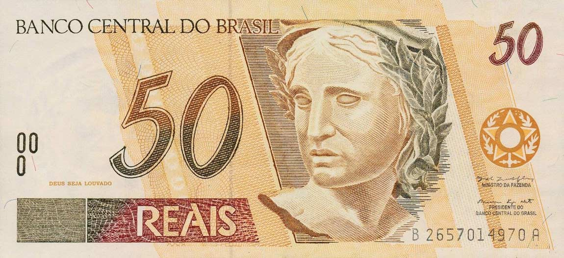 Brazil Currency 50 Reals Banknote