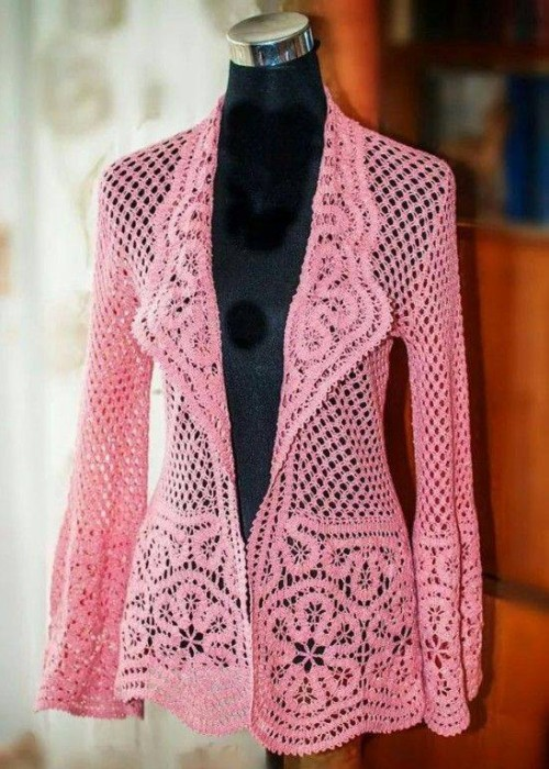 Crochet Open Work Fishnet Jacket - Free Pattern