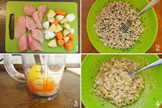 foto preparazione Ricetta insalata di pollo con finta maionese per bambini