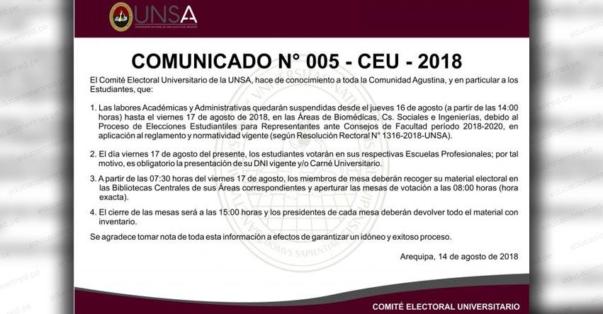 UNSA suspende labores académicas y administrativas, debido al Proceso de Elecciones Estudiantiles para Representantes ante Consejos de Facultad período 2018-2020 - www.unsa.edu.pe
