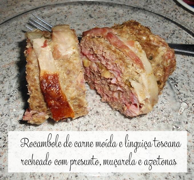 Rocambole de carne moída com linguiça toscana