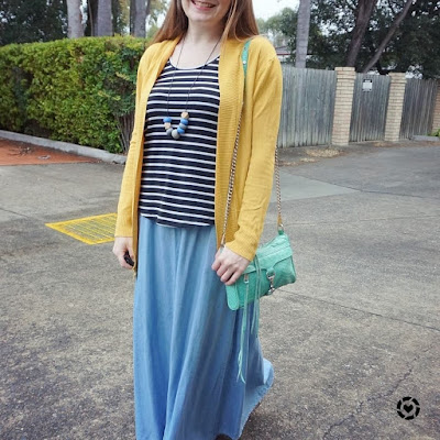 awayfromblue instagram | colourful winter maxi skirt outfit with mustard cardi and mint accessories