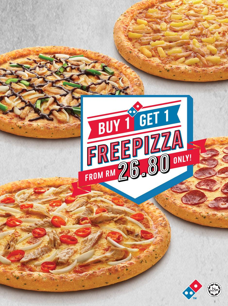 Domino's Pizza Buy 1 Free 1 Promotion 17 - 30 October 2016