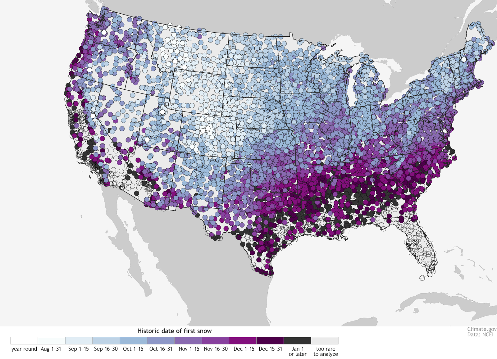 The U.S. First Snow Map