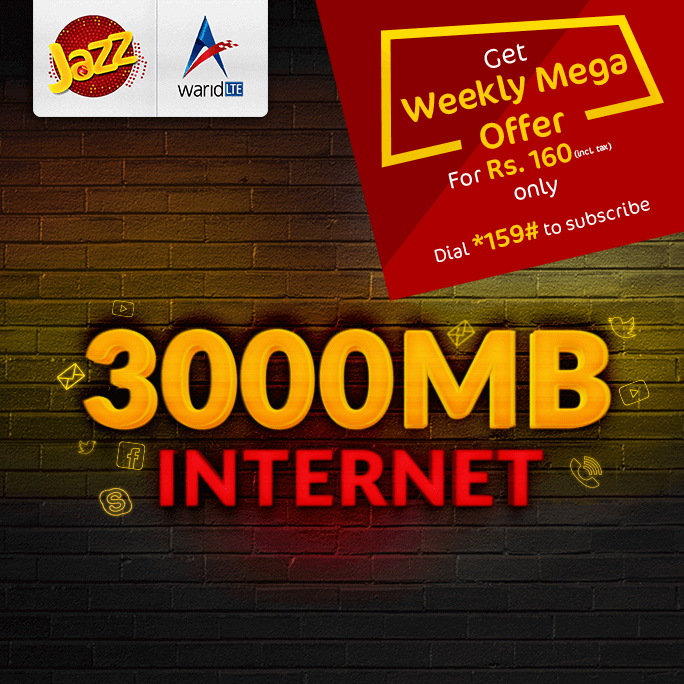 Jazz Weekly Mega 3000MB Internet Offer