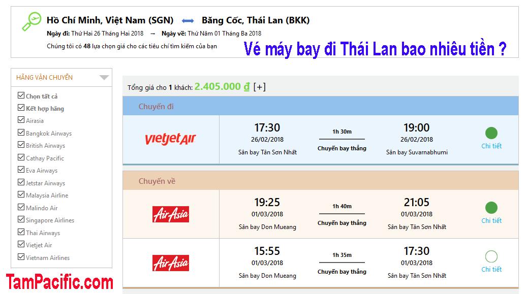 Vé máy bay đi Thái Lan bao nhiêu tiền có luôn cả chặng đi khứ hồi ?