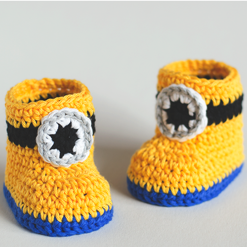 Free Crochet Pattern Minion Baby Booties : Crochet For Children: Minion Inspired Baby Booties - Free ...