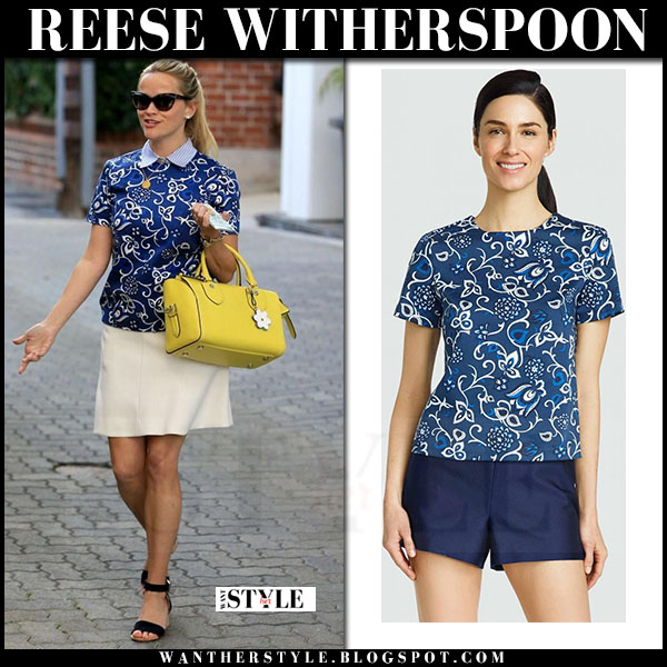 Reese Witherspoon in blue vine print draper james top and beige skirt what she wore