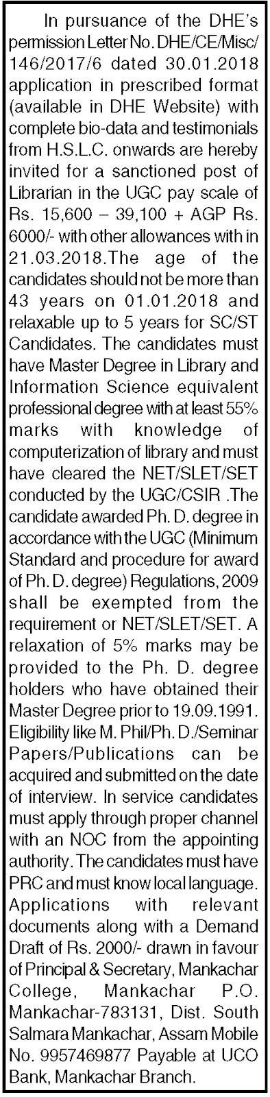 Mankachar College, Mankachar, Assam Recruitment for the post of Librarian