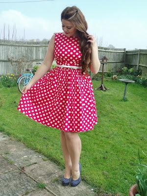Victoria's Vintage Blog wearing red polka dot dress