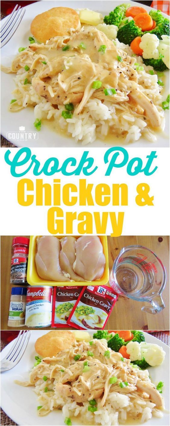 Crock Pot Chicken and Gravy #chicken #chickenrecipes #gravy #dinnerrecipes #dinnerideas #easydinnerrecipes
