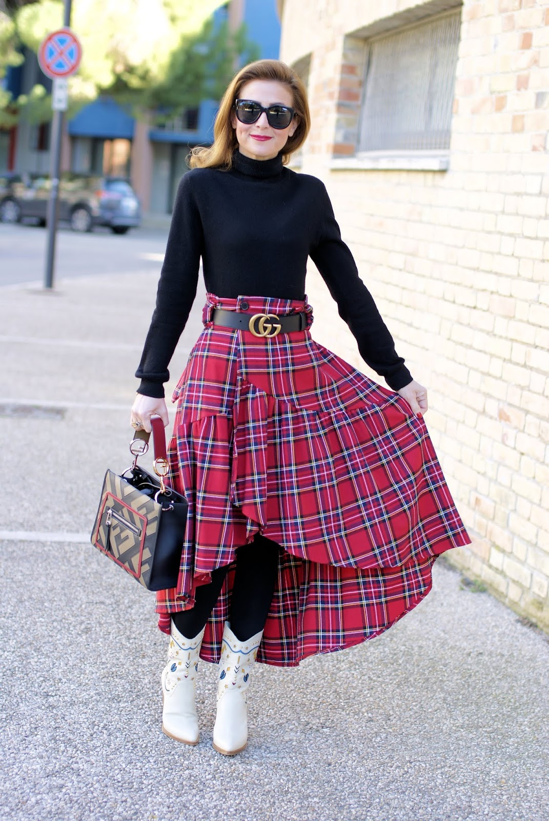 Plaid ruffled skirt, Le Silla boots and Fendi Runaway Logo bag on Fashion and Cookies fashion blog, fashion blogger style