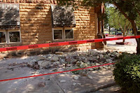 Stonework litters the sidewalk outside an empty jewelry store at the corner of Sixth and Harrison in Pawnee, Oklahoma, U.S. September 3, 2016 after a 5.6 earthquake struck near the north-central Oklahoma town. (Credit: Reuters/Lenzy Krehbiel-Burton) Click to Enlarge.