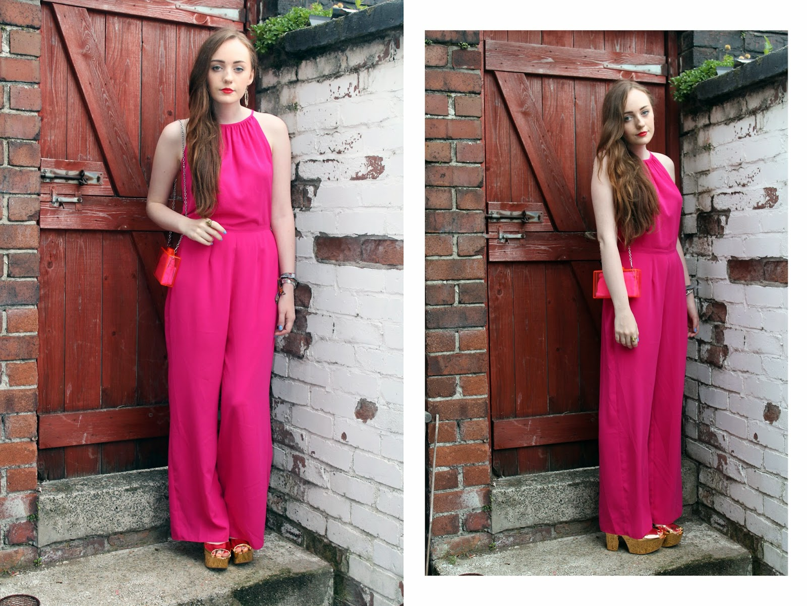 magenta wide legged jumpsuit from debenhams summer 2014 worn with zara neon perspex clutch bag and upcycled gold platform heels