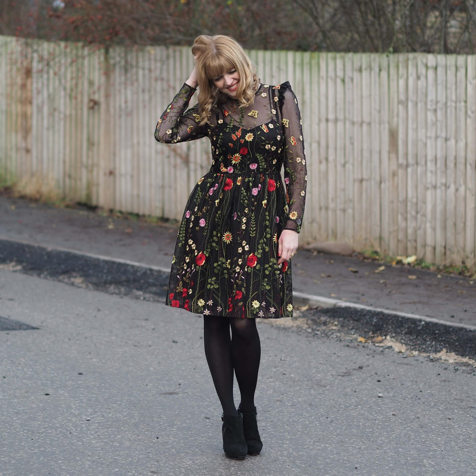 Black mesh embroidered floral dress