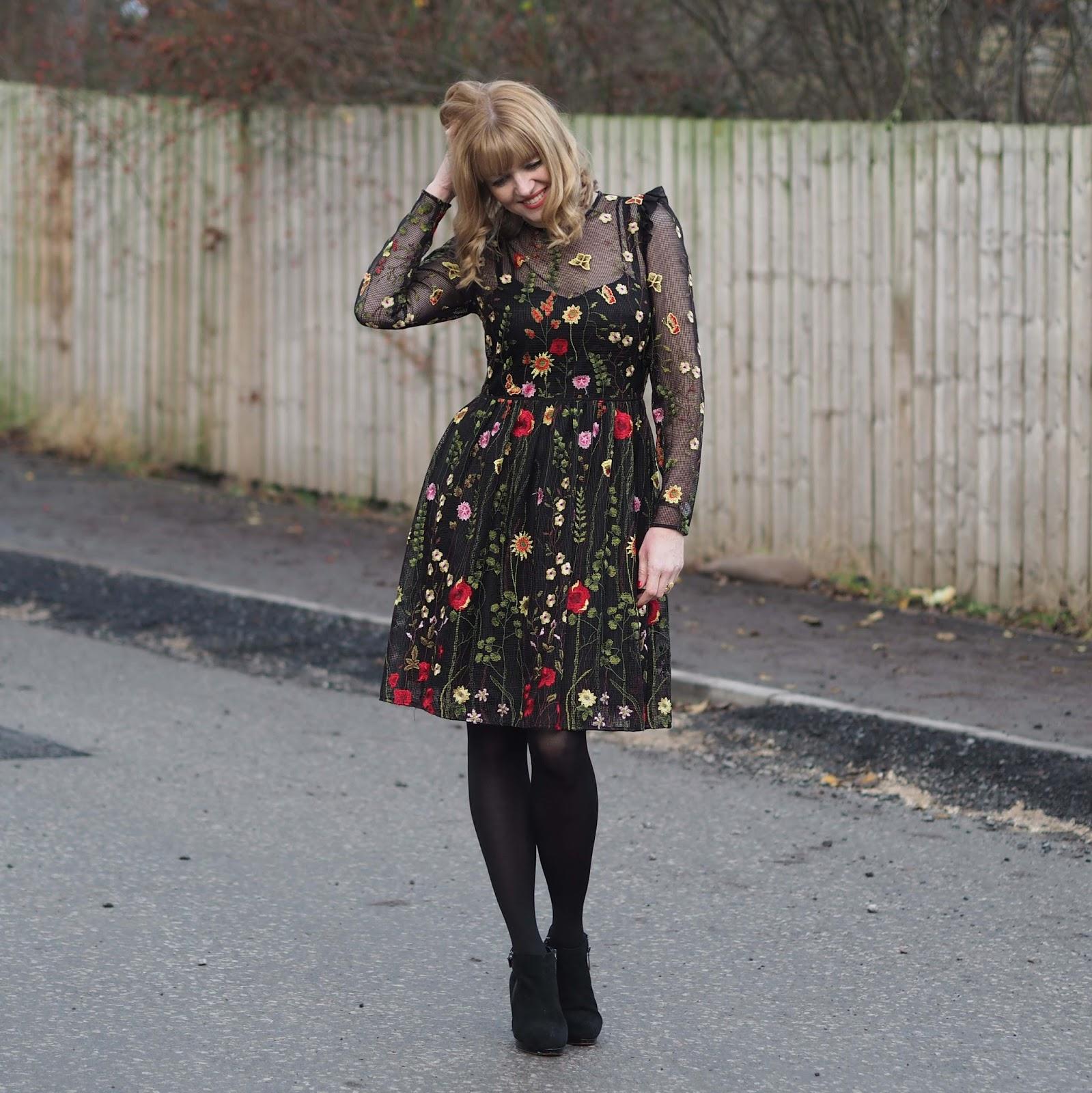 Black mesh embroidered floral dress