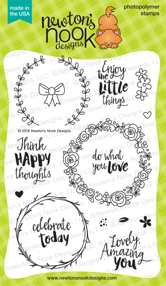 Happy Little Thoughts 4 x 6 Wreath Stamp set | Newton's Nook Designs #newtonsnook