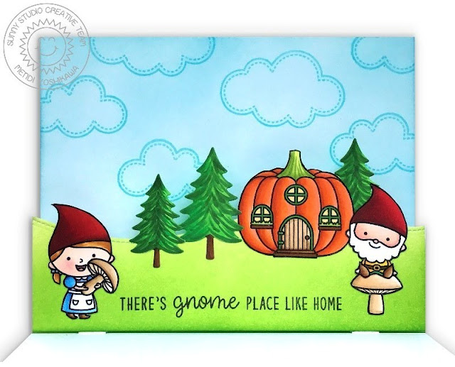 Sunny Studio Stamps: Home Sweet Gnome Pop-up Fall Card using Woodland Borders Die