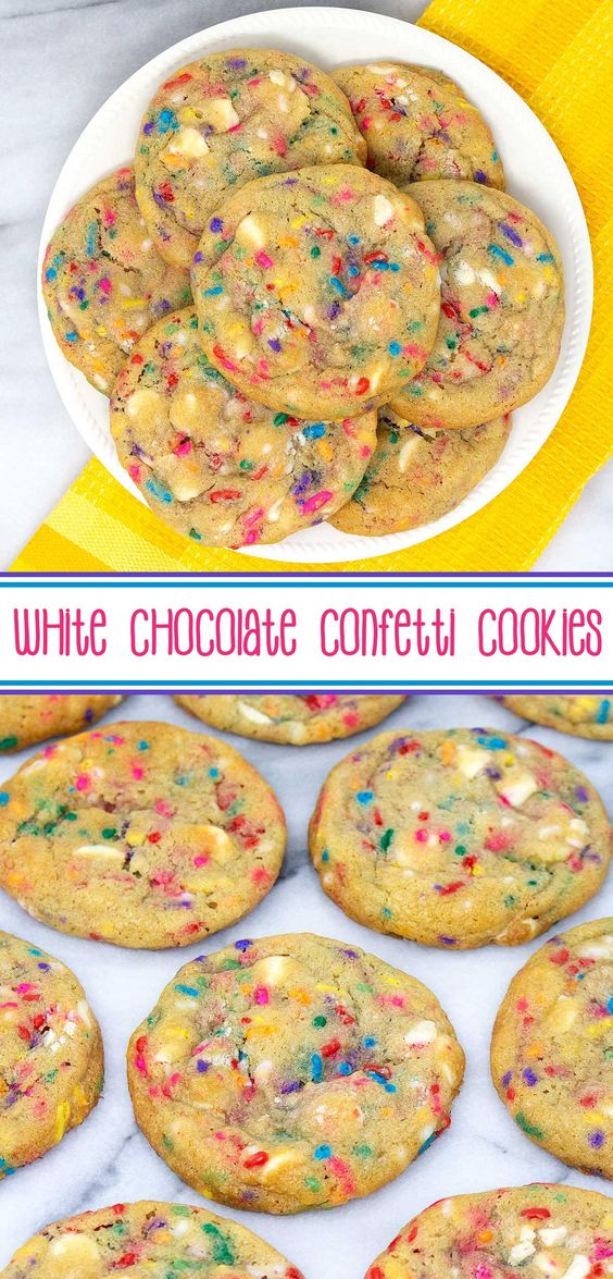 White Chocolate Confetti Cookies - gorgeous, soft and chewy, white chocolate and sprinkles, sugar cookies. #sarahsbakestudio #hookedoncookies #cookies #sugarcookies #whitechocolate #whitechocolatechips #sprinkles #confetticookies #cookierecipes #desserts via @SarahsBakeStudio