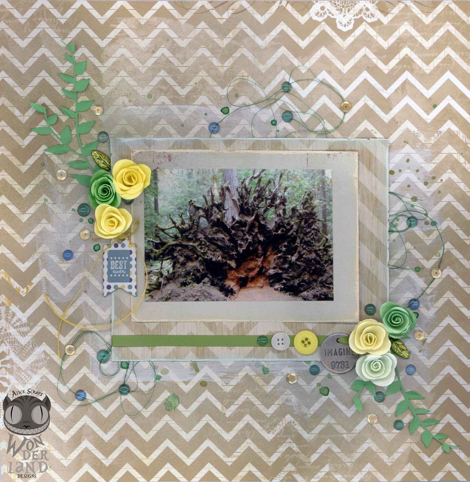 Imagine by Alice Scraps Wonderland:  This dreamy layout is full of soft browns, greens and yellows.  Mixed media and layering add detail without overwhelming the beautiful photo.