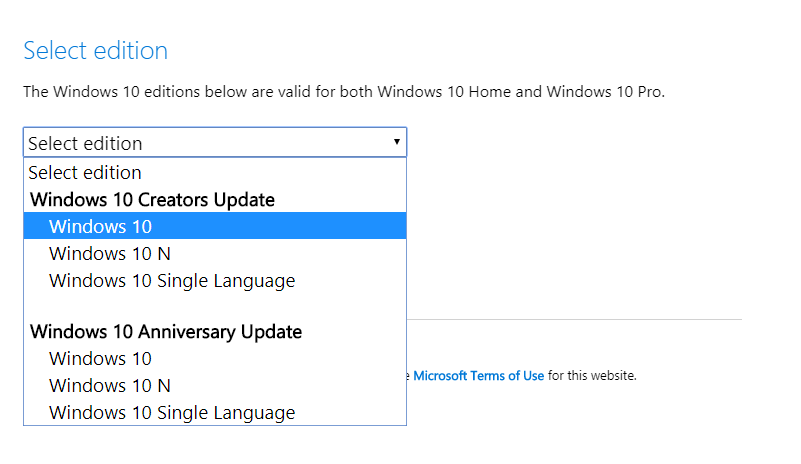 Upgrade to Windows 10 Fall Creators update using these options