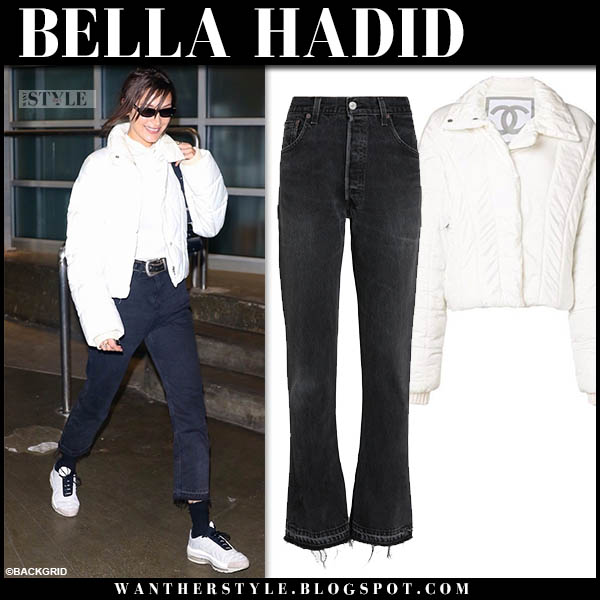 Bella Hadid in white puffer chanel jacket and cropped black jeans winter street style october 22