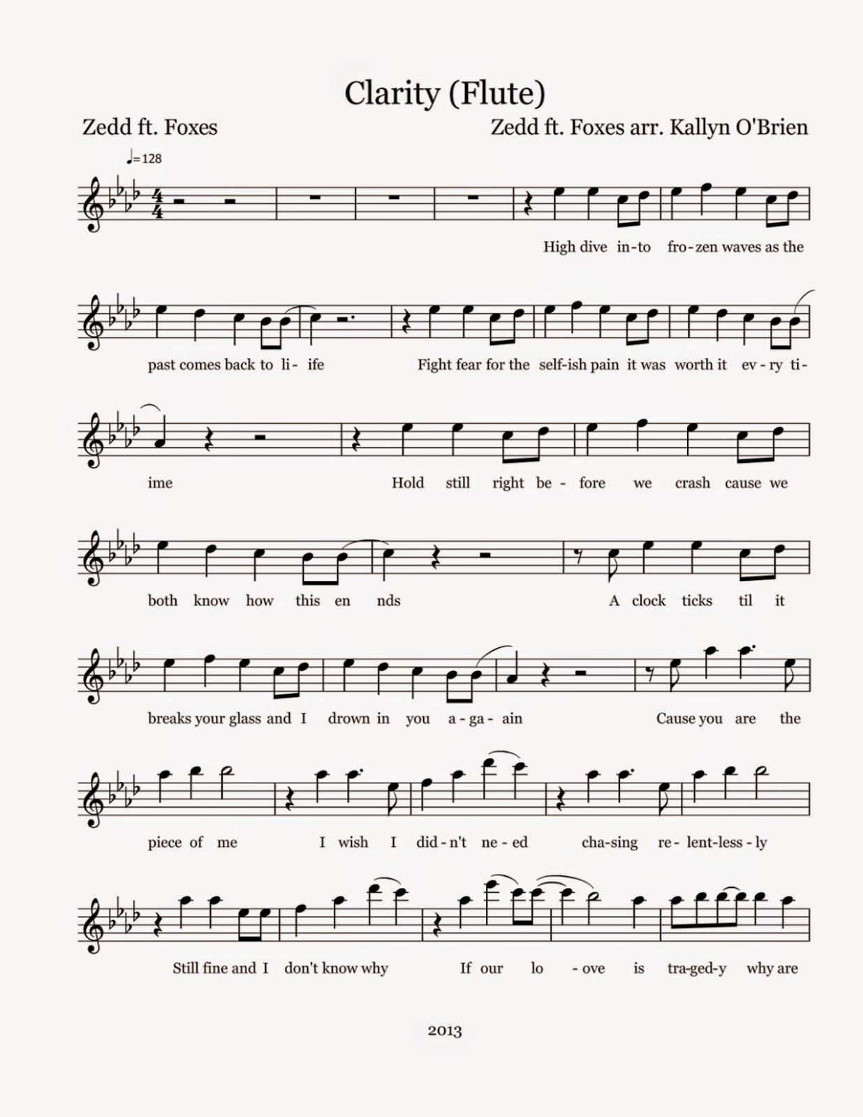 Flute Sheet Music Clarity Sheet Music