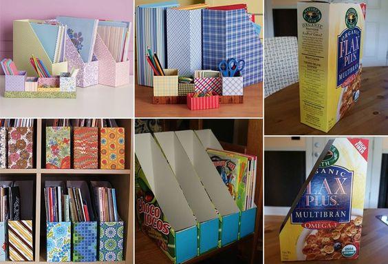 decoração reciclada caixa cereal porta revista organizador