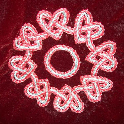 chain stitch embroidered hearts