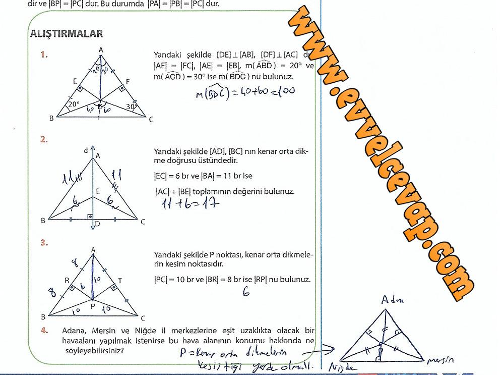 9.Sınıf Matematik MEB Yayınları Ders Kitabı 247.Sayfa Cevapları Üçgenler